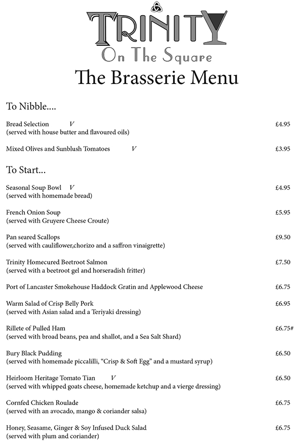 Trinity on the Square Preston Brasserie Restaurant menu-1